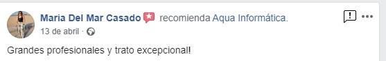 """Opinión de María del Mar Casado: """"Grandes profesionales y trato excepcional!"""" desde Facebook"""